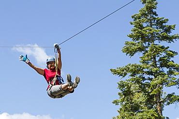 Zip lining, Big Bear Lake, California, United States of America, North America