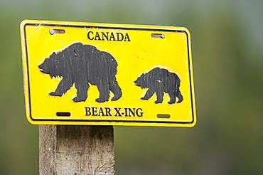 Bear sign, Great Bear Lodge, Great Bear Rainforest, British Columbia, Canada, North America