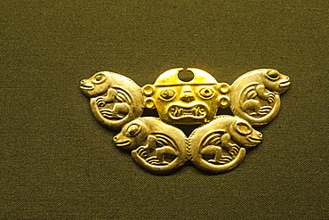 Gold artifacts in Cao Museum in the El Brujo Archaeological Complex near Trujillo, Peru, South America