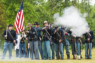 Union soldiers at the Thunder on the Roanoke Civil War reenactment in Plymouth, North Carolina, United States of America, North America