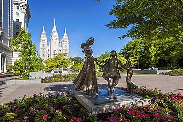 Joyful Moment Statue, Temple Square, Salt Lake City, Utah, USA.