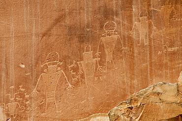 Fremont petroglyphs, Capitol Reef National Park, Fruita, Utah, United States of America, North America
