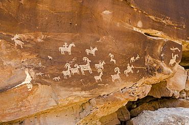 Ute rock art petroglyphs, Arches National Park, Utah, United States of America, North America