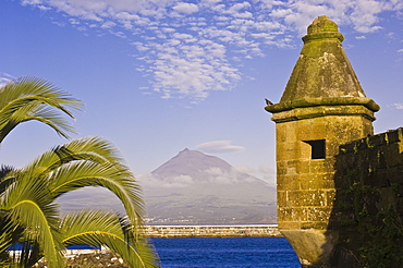 Mount Pico seen from waterfront of Horta, Faial, Azores, Portugal, Atlantic, Europe