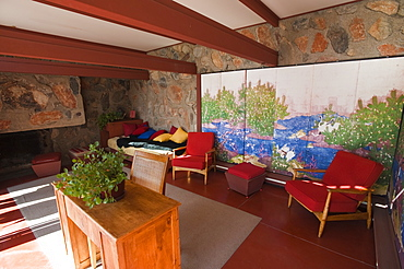 Sitting area at Taliesin West, Frank Lloyd Wright's winter home, Scottsdale, Arizona, United States of America, North America