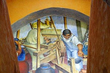 Mexico, Bajio, San Miguel de Allende, Bellas Artes 1940 mural by Pedro Martinez depicting textile making.