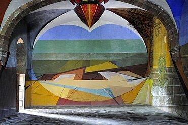 Mexico, Bajio, San Miguel de Allende , Unfinished 1940s mural by David Alfaro Siqueiros in Escuela de Bellas Artes.