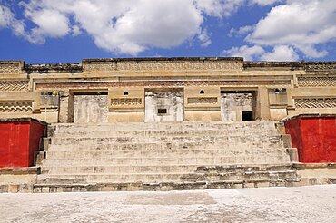 Mexico, Oaxaca, Mitla, Archaeological site. Templo de las Columnas.