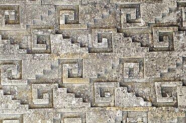 Mexico, Oaxaca, Mitla , Archaeological site Detail of geometric stone mosaic on the Templo de las Columnas.