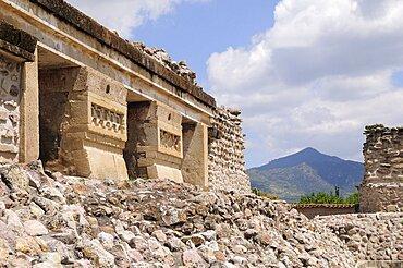 Mexico, Oaxaca, Mitla , Archaeological site Templo de las Columnas.