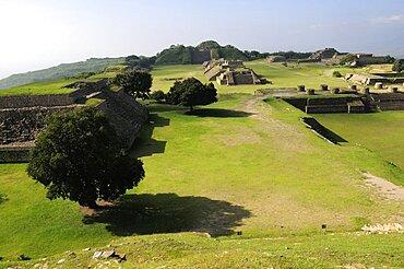 Mexico, Oaxaca, Monte Alban, Site view onto the ball court or Juegos de Pelota.