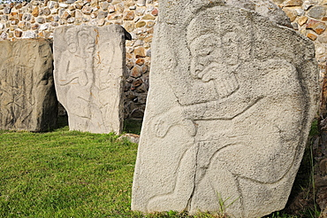 Mexico, Oaxaca, Monte Alban, Archaeological site Relief carved stone blocks depicting dancers.