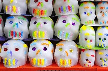 Mexico, Puebla, Sugar candies in the form of skulls for Dia de los Muertos or Day of the Dead festivities.