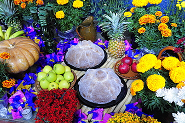 Mexico, Michoacan, Patzcuaro, Altar with display of food and flowers including marigolds for Dia de los Muertos or Day of the Dead festivities.