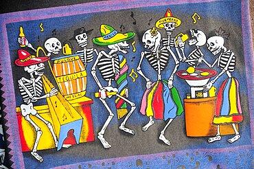 Mexico, Oaxaca, Decorations for Dia de los Muertos or Day of the Dead festivities.