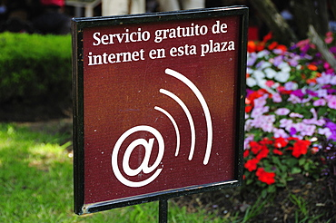 Mexico, Bajio, Queretaro, Sign indicating availability of Wifi for internet users.