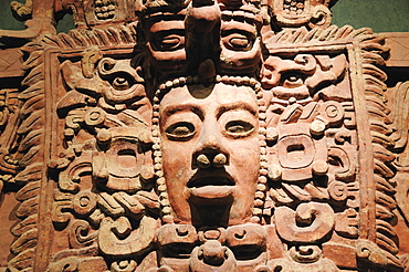 Mexico, Federal District, Mexico City, Museo Nacional Antropologia Detail of frieze fragment 250-600 AD from Campeche.