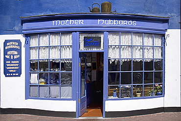 Ireland, County Cork, Kinsale, Facade of restaurant known as Mother Hubbards .