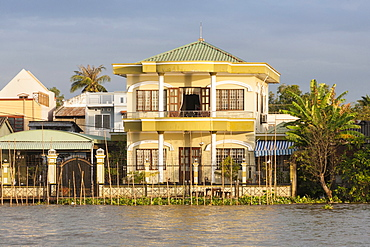 Vietnam, Mekong Delta, Opulent riverside home near Cai Rang and Can Tho.