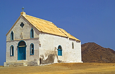 Cape Verde Islands, Sal Island, Pedra Lume, Isolated village Church with tin roof.