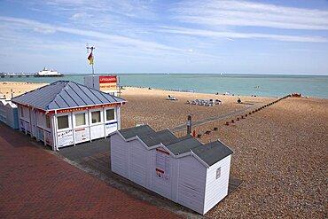 England, East Sussex, Eastbourne, View across shingle beach.