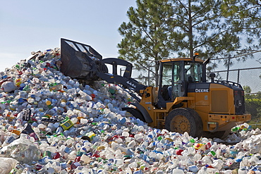 USA, Florida, Recycling, Pile of Plastic Bottles being Recycled.