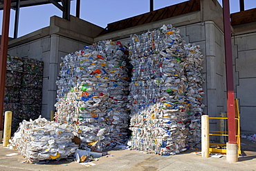 USA, Florida, Recycling, Bundle of plastic bottles for recycling at the country dump.