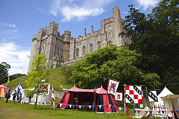 England, West Sussex, Arundel, Jousting festival in the grounds of Arundel Castle.
