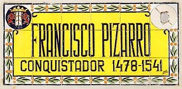 Spain, Extremadura, Badajoz, Colourful tiled memorial to local hero.