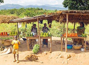 Burundi, Cibitoke Province, Buganda, Market stall selling vegetables beside the road.