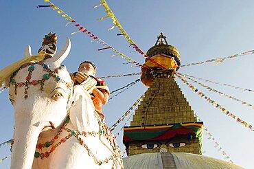 Nepal, Kathmandu, Boudnath Tibetan Buddhist Temple.