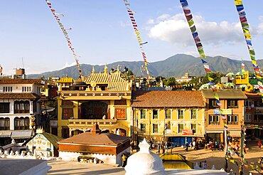 Nepal, Kathmandu, The streets beside Bodnath Tibetan Buddhist Temple.