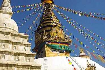 Nepal, Kathmandu, Swayambunath Monkey Temple.