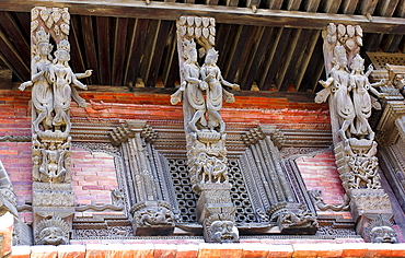 Nepal, Kathmandu, Durbar Square Erotic carvings on roof supports of Jagganath Temple.