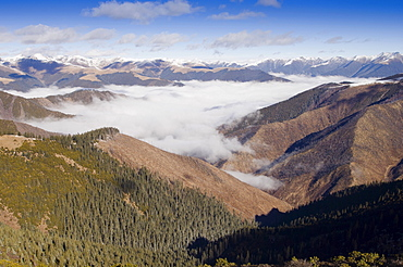 China, Szechuan Province, Tibet, High altitude view across mountains and valleys in Tibetan region of Litang county.