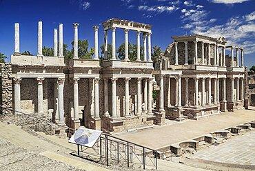 Spain, Extremadura, Merida, Roman Theatre ruin.
