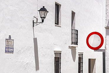 Spain, Extremadura, Olivenza, Typical local architecture with bars over windows.