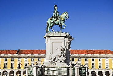 Portugal, Estremadura, Lisbon, Praco do Comercio Statue of Dom Jose 1st.