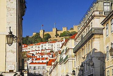 Portugal, Estremadura, Lisbon, Praco do Fiqueira with Castle de Sao Jorge in the background.