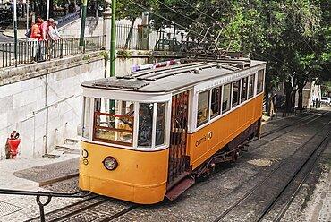 Portugal, Estremadura, Lisbon, Elevador da Gloria the Gloria Funicular tram.