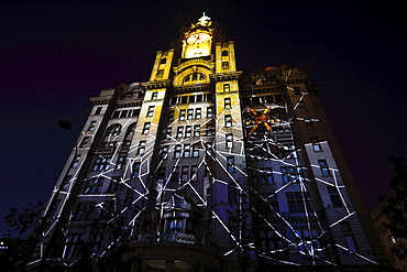 England, Merseyside, Liverpool, Royal Liver Building 100th anniversary constructed in 1911 celebrated by staging a 3D Macula light show with the theme Spider on Spiders Web.