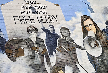 "Ireland, North, Derry, The People's Gallery series of murals in the Bogside, Mural known as ""Bernadette""."