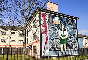 "Ireland, North, Derry, The People's Gallery series of murals in the Bogside, Mural known as ""The Death of Innocence"", in memory of Annette McGavigan."