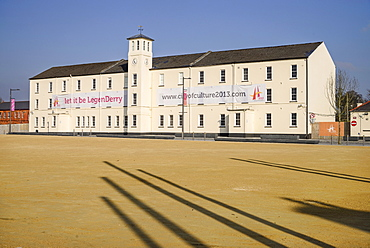 Ireland, North, Derry, Former Ebrington Barracks building with Derry 2013 Year of Culture banner.