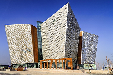 Ireland, North, Belfast, Titanic Quarter, Titanic Belfast Visitor Experience, General view of building with Titanic sign outside.