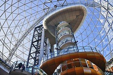 Ireland, North, Belfast, Victoria Square shopping centre, interior view of the glass dome.