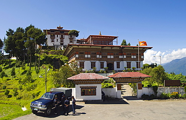 Bhutan, Zhemgang Dzong , Zhemgang Dzong with Police parked at entrance.