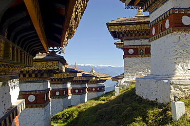 Bhutan, Dochu La, Chortens to commemorate victory of the 4th King in battle near Thimphu.