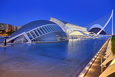 Spain, Valencia Province, Valencia, Spain, Valencia Province, Valencia, La Ciudad de las Artes y las Ciencias, City of Arts and Sciences, Overall vista of the complex of buildings at dusk.