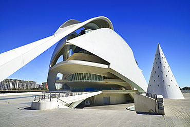 Spain, Valencia Province, Valencia, Spain, Valencia Province, Valencia, La Ciudad de las Artes y las Ciencias, City of Arts and Sciences, Palau de les Arts Reina Sofa, Opera house and cultural centre.